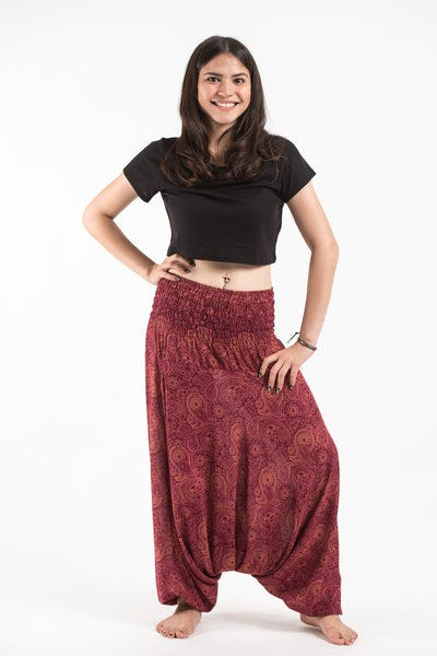 Royal Paisley Jumpsuit Harem Pants in Red