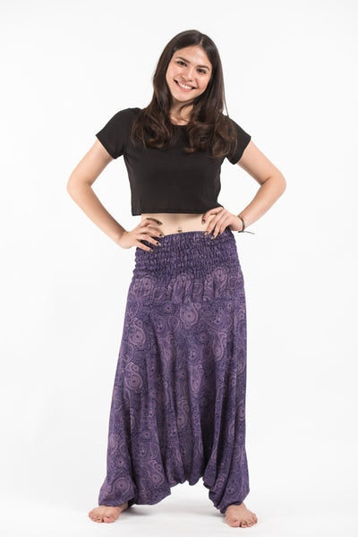 Royal Paisley Jumpsuit Harem Pants in Violet