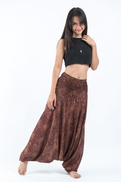 Royal Paisley Jumpsuit Harem Pants in Brown