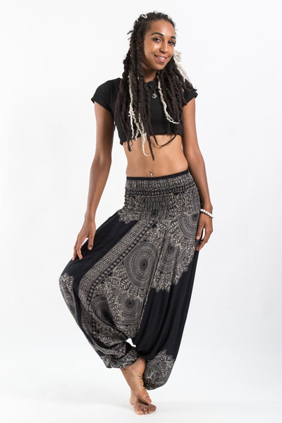 Floral Mandalas Jumpsuit Harem Pants in Black