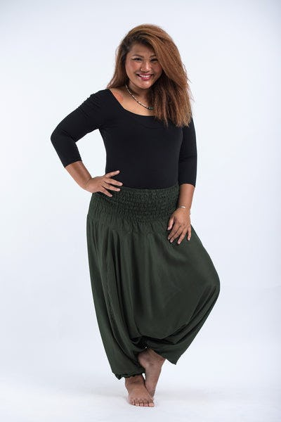 Plus Size Solid Color Drop Crotch Women's Harem Pants in Dark green