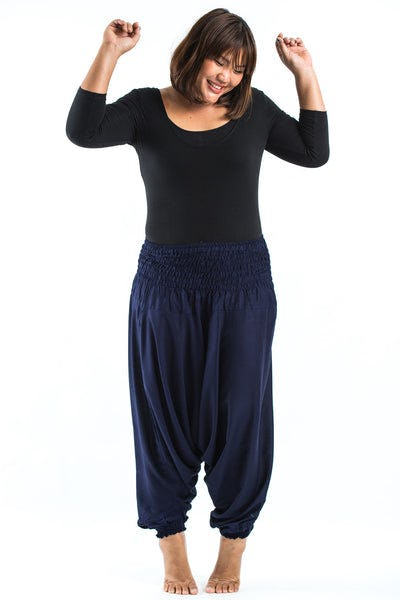 Plus Size Solid Color Drop Crotch Women's Harem Pants in Blue