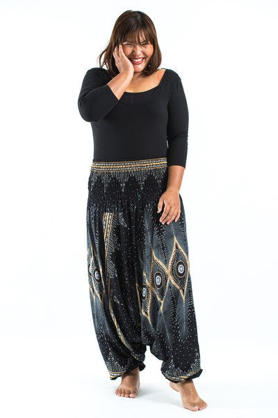 Plus Size Diamond Peacock  Drop Crotch Women's Harem Pants in Black