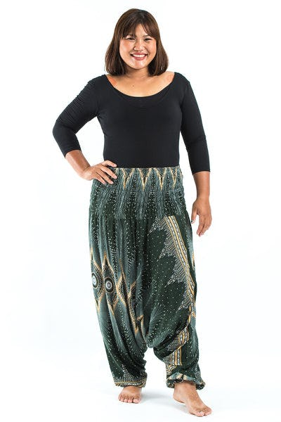Plus Size Diamond Peacock  Drop Crotch Women's Harem Pants in Green