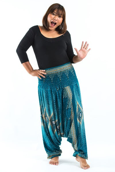 Plus Size Diamond Peacock  Drop Crotch Women's Harem Pants in Turquoise