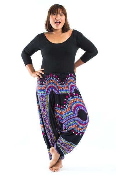 Plus Size Dashiki Prints  Drop Crotch Women's Harem Pants in Black