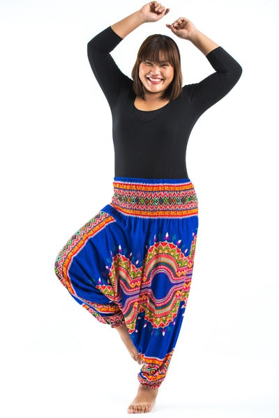 Plus Size Dashiki Prints  Drop Crotch Women's Harem Pants in Blue