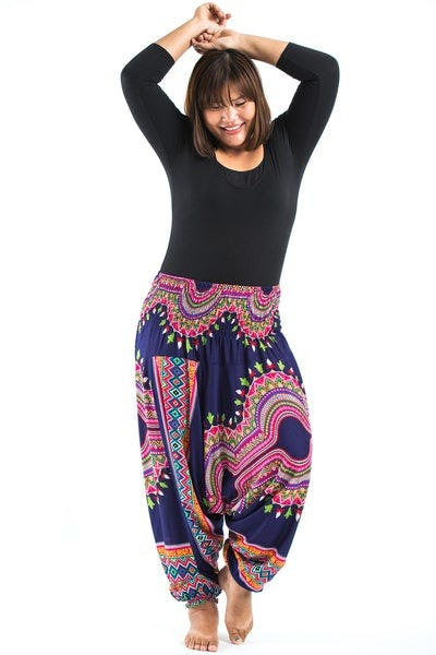 Plus Size Dashiki Prints  Drop Crotch Women's Harem Pants in Navy