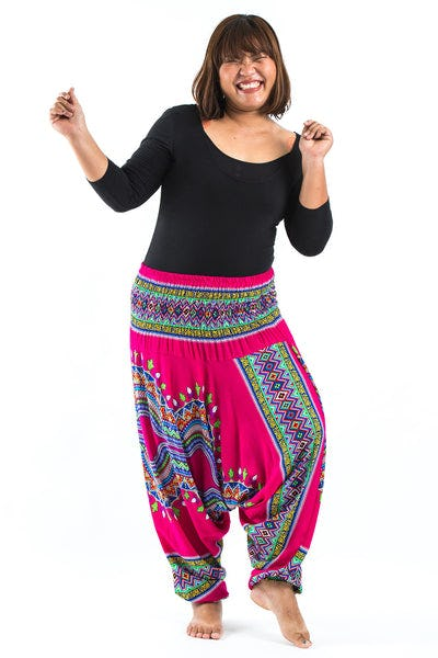 Plus Size Dashiki Prints  Drop Crotch Women's Harem Pants in Pink