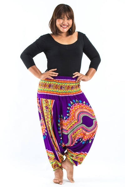 Plus Size Dashiki Prints  Drop Crotch Women's Harem Pants in Purple