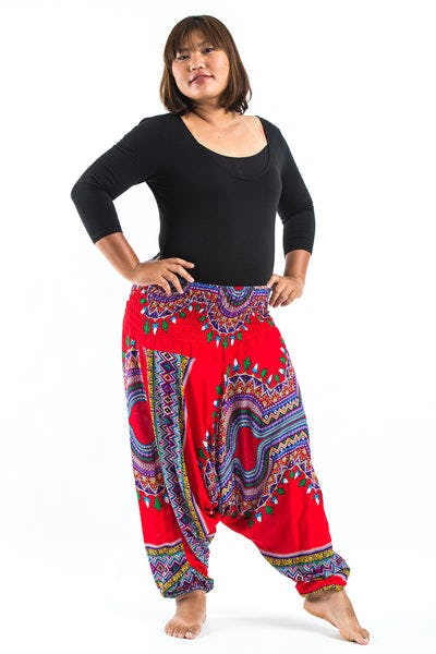 Plus Size Dashiki Prints  Drop Crotch Women's Harem Pants in Red