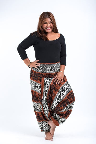 Plus Size Safari Elephants Drop Crotch Women's Harem Pants in Brown