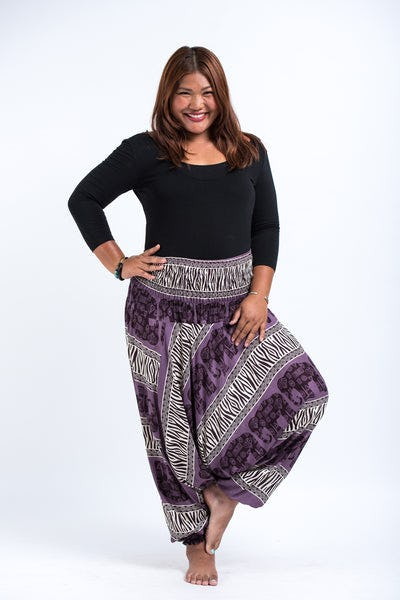 Plus Size Safari Elephants Drop Crotch Women's Harem Pants in Violet