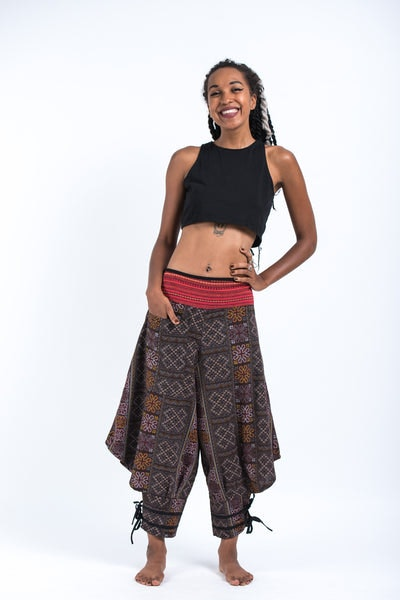 Clovers Thai Hill Tribe Fabric Women's Harem Pants with Ankle Straps in Brown