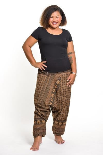 Plus Size Hill Tribe Elephant Women's Elephant Pants in Brown