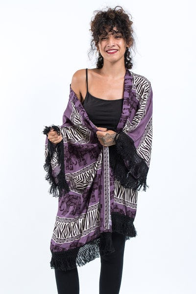 Safari Elephants Kimono Cardigan in Violet