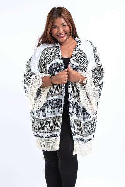 Safari Elephants Kimono Cardigan in White