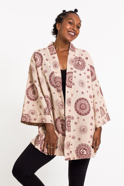 Ohm Print Cotton Kimono Cardigan in Cream
