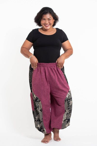 Plus Size Stone Washed Patchwork Women Unisex Pants in Magenta