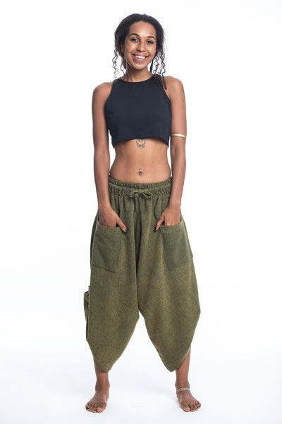Stone Washed Large Pockets Women's Harem Pants in Green
