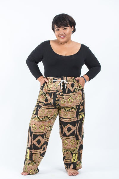 Plus Size Patchwork Women's Drawstring Pants in Beige
