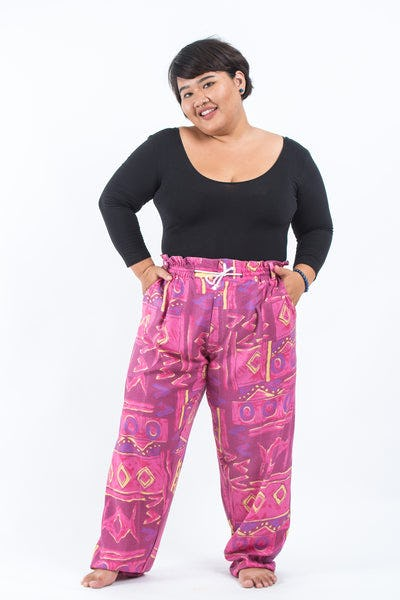 Plus Size Patchwork Women's Drawstring Pants in Pink