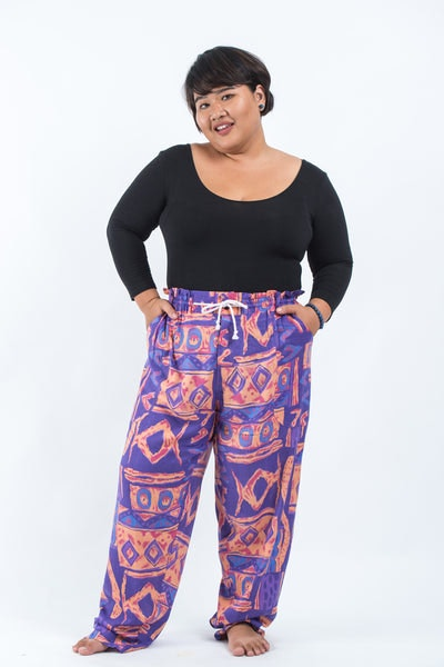 Plus Size Patchwork Women's Drawstring Pants in Violet