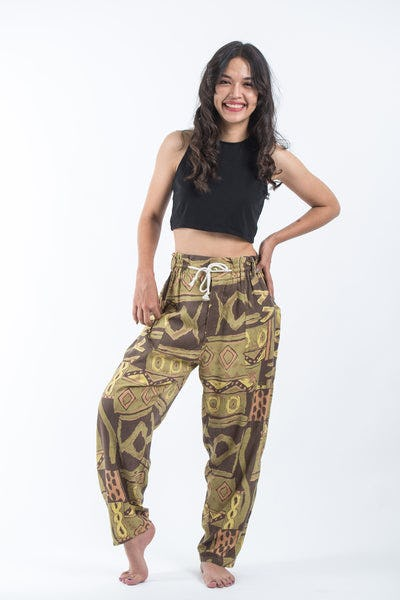 Patchwork Women's Drawstring Pants in Brown