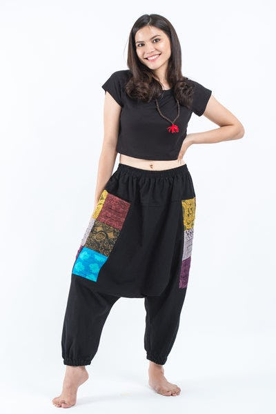 Ripped Patchwork Cotton Women's Harem Pants In Black