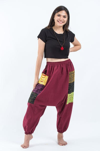 Ripped Patchwork Cotton Women's Harem Pants In Maroon