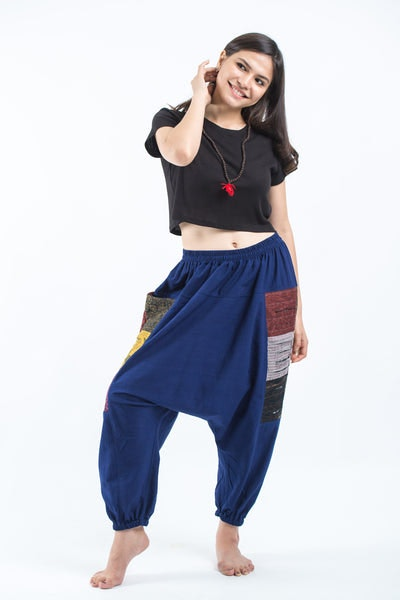 Ripped Patchwork Cotton Women's Harem Pants In Navy