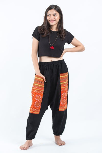 Hill Tribe Embroidered Cotton Women's Harem Pants In Black