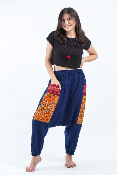 Hill Tribe Embroidered Cotton Women's Harem Pants In Blue