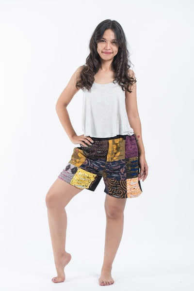 Ripped Patchwork Cotton Shorts In Black