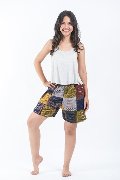 Ripped Patchwork Cotton Shorts In Brown