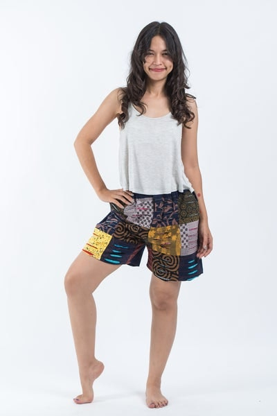 Ripped Patchwork Cotton Shorts In Navy