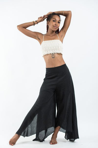 Women's Cotton Tinkerbell Palazzo Pants in Black