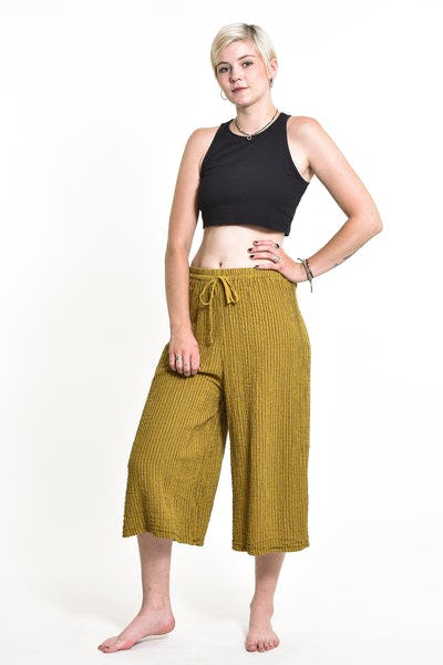 Women's Crinkled Cotton Cropped Pants in Solid Mustard Yellow