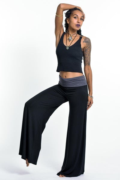 Wide Leg Palazzo Harem Pants Cotton Spandex in Solid Black