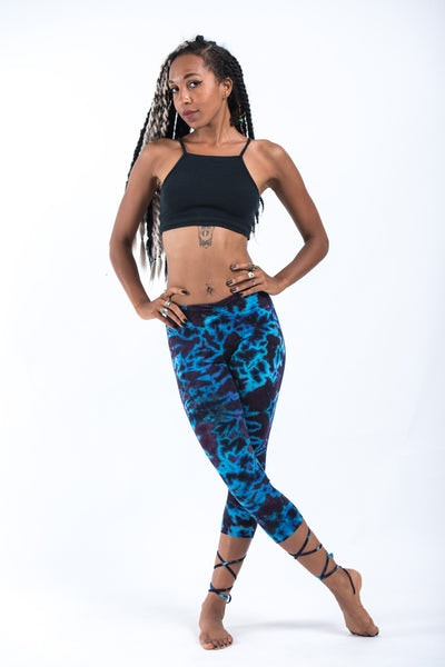Marble Tie Dye Cotton Capri Leggings in Indigo