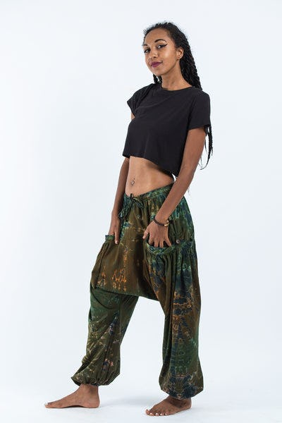 Tie Dye Cotton Women Harem Pants in Olive