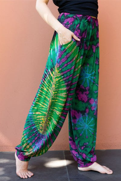 Tie Dye Cotton Women Harem Pants in Green