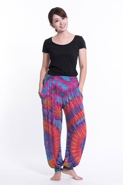 Tie Dye Cotton Women Harem Pants in Pink