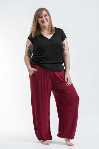 Plus Size Cotton Women Harem Pants in Solid Red