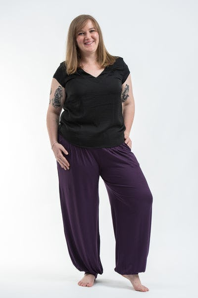 5ce5704a7747b Plus Size Cotton Women Harem Pants in Solid Purple