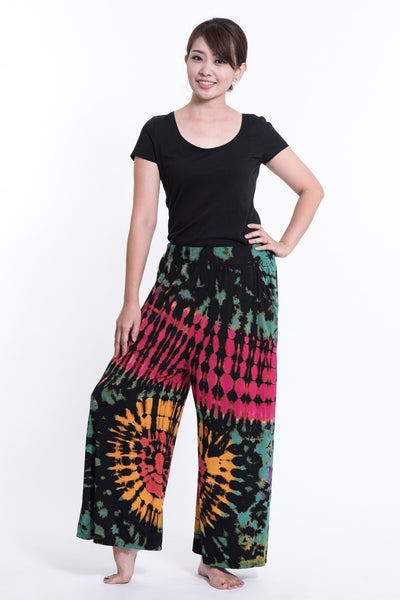 Tie Dye Wide Leg Palazzo Harem Pants Cotton Black Pink