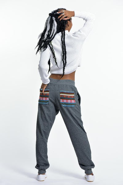 Women's Terry Pants with Aztec Pockets in Black