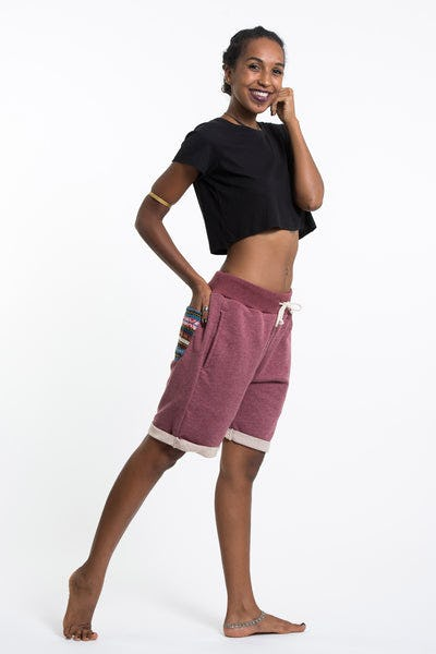 Women's Terry Shorts with Aztec Pockets in Red