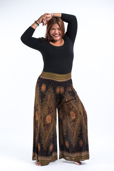 Plus Size Peacock Eyes Palazzo Style Harem Pants in Brown Gold