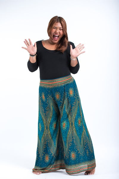 Plus Size Peacock Eyes Palazzo Style Harem Pants in Turquoise